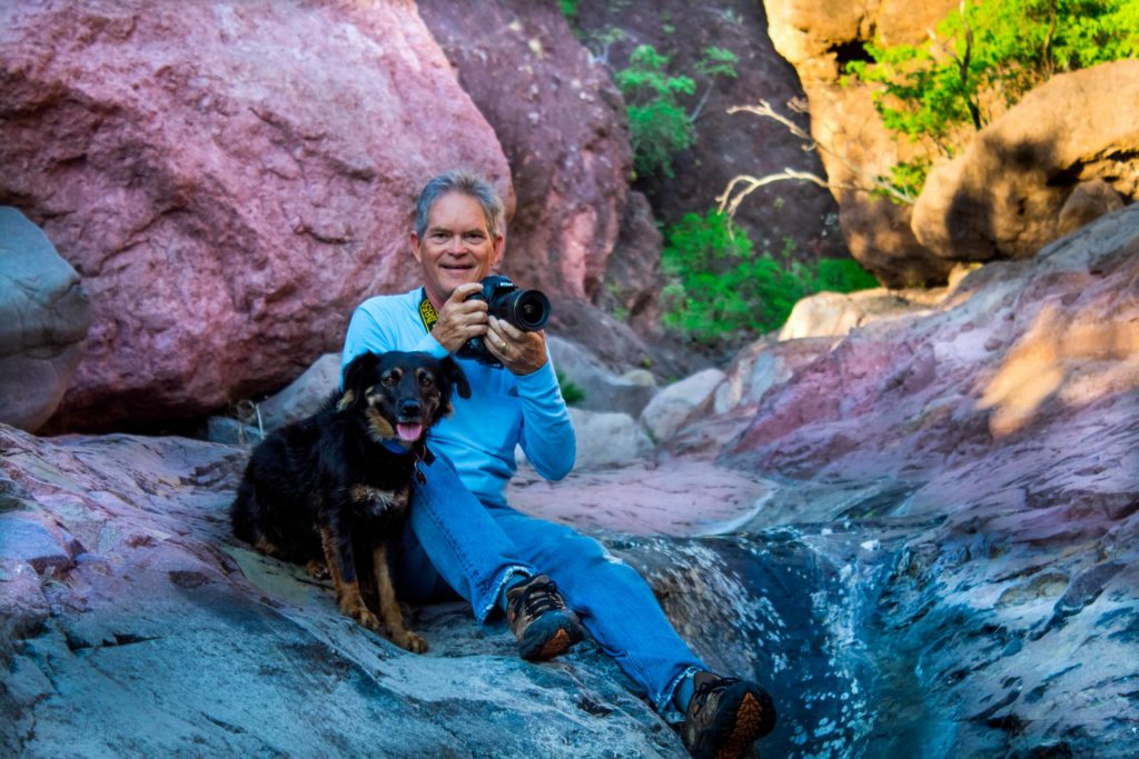 Richard and Caiya, his local rescue dog from Animalandia